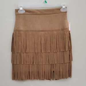 Gianni Bini faux suede fringed skirt size XS NWT
